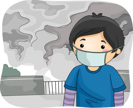 contaminacion aire: Ilustración de un Niño con una máscara quirúrgica mientras camina por una ciudad contaminada