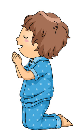 christian prayer: Illustration of a Boy in Pajamas Praying Before Going to Bed