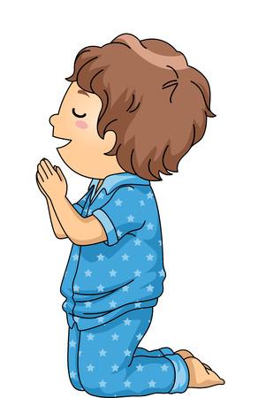 ni�o orando: Ilustraci�n de un ni�o en pijamas Orar antes de acostarse