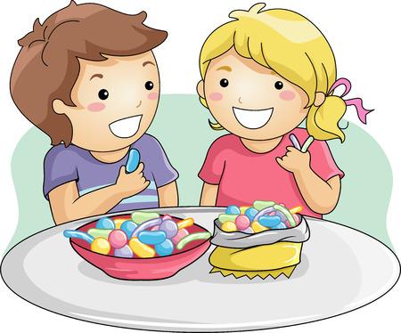 Illustratie van Little Kids Eating Gummy Candies Stockfoto