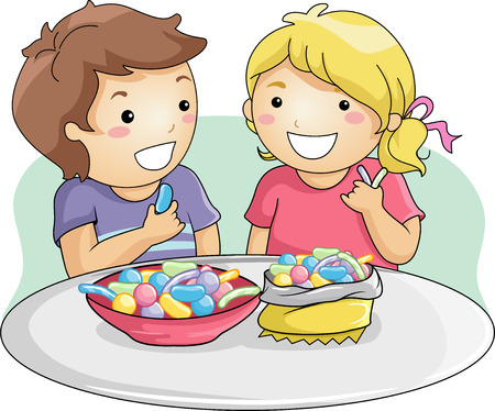 Illustration of Little Kids Eating Gummy Candies Фото со стока