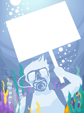 holding sign: Illustration of a Man Holding a Picket Sign While Underwater Stock Photo