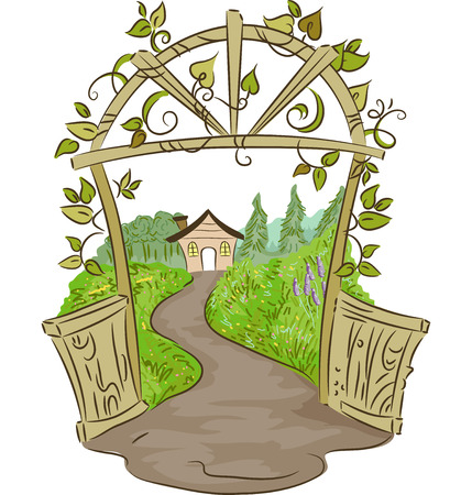 arc: Illustration of an Arc Leading to a Rural House Surrounded by Plants Stock Photo