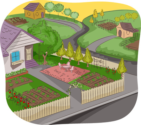 garden landscape: Illustration of a House in a Rural Neighborhood with a Garden in Front