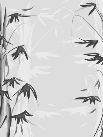 wispy: Black and White Background Illustration of a Bamboo Forest