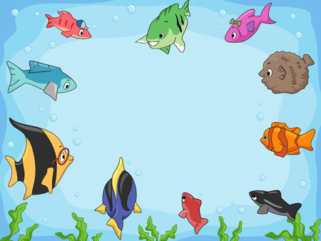 fish illustration: Frame Illustration of Different Species of Fish Swimming Around