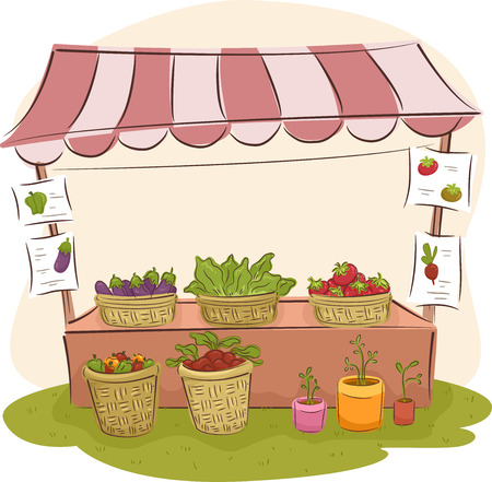 stall: Illustration of a Market Stall Selling Fresh Fruits and Vegetables Stock Photo