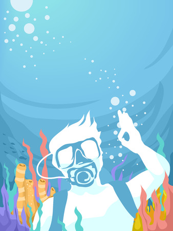 man underwater: Illustration of a Man Doing the Okay Sign While Underwater