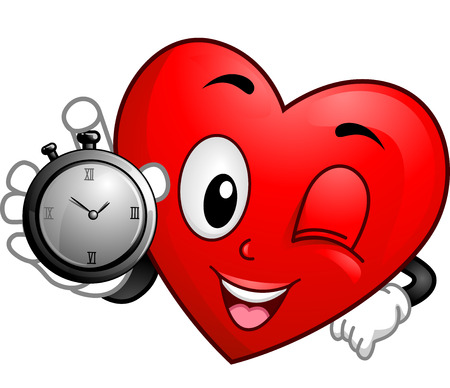 bpm: Illustration of a Heart Mascot Holding a Stopwatch Stock Photo