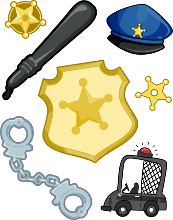 police hat: Illustration of Elements Typically Associated with the Police