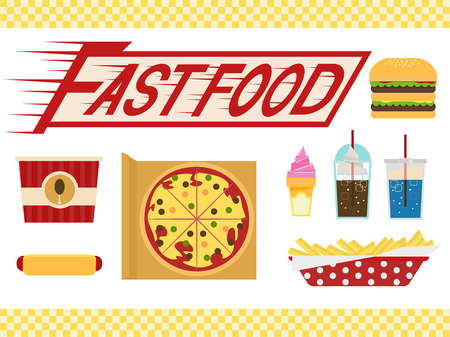 associated: Illustration of Elements Typically Associated with Fast Food Stock Photo