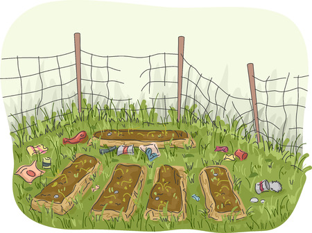 thrash: Illustration of an Abandoned Garden with Garbage Scattered All Around Stock Photo
