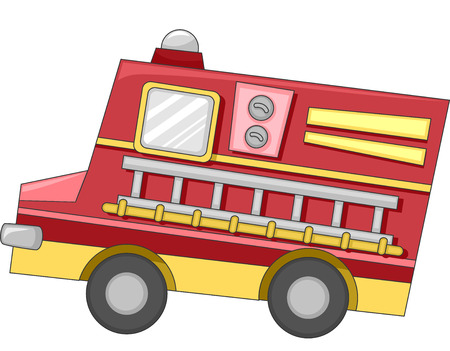 firetruck: Cute Illustration of a Firetruck with a Ladder Attached to its Side Stock Photo