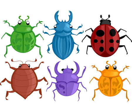 crawlies: Colorful Illustration Featuring Different Species of Bugs