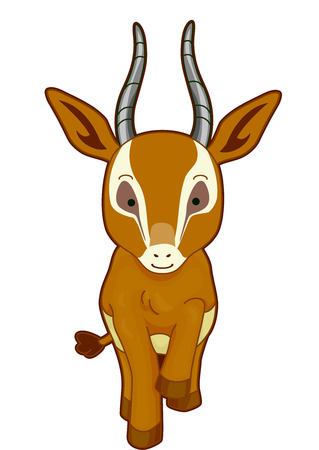 gazelle: Cutesy Illustration of a Gazelle Walking Gracefully