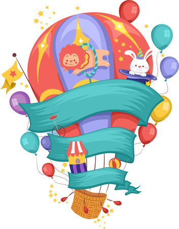 balloon: Illustration of a Hot Air Balloon Decorated with Carnival Related Items