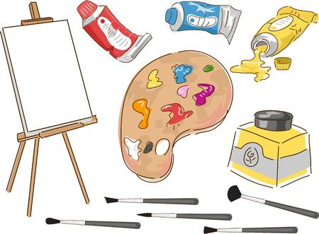 Illustration des éléments typiquement associés à peinture