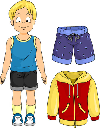 boy shorts: Illustration of a Little Boy Standing Beside Typical Clothes for Boys