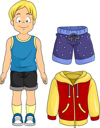 pantalones cortos: Ilustración de un niño de pie pequeño lado de ropa típicas para Niños