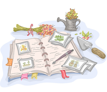 journal: Illustration of a Journal with Notes on Gardening Attached to It Stock Photo