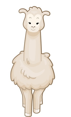 llama: Cutesy Illustration of a Llama Standing Gracefully