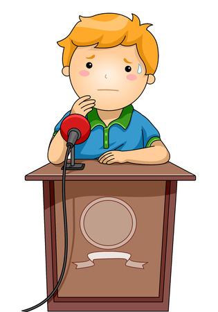 hablar en publico: Ilustración de un niño de pie nerviosamente detrás de un podio Foto de archivo