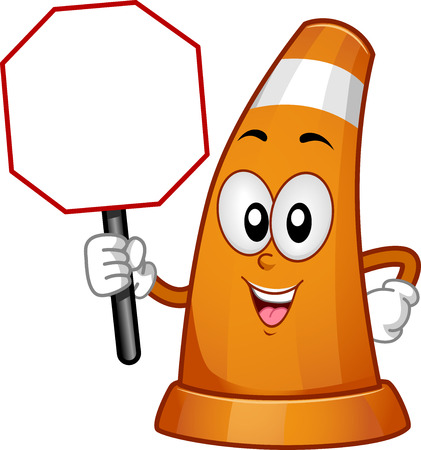 Mascot Illustration of a Traffic Cone Holding a Traffic Sign Foto de archivo