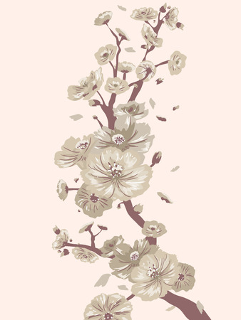 arts symbols: Vintage Illustration of a Branch Covered with Cherry Blossoms