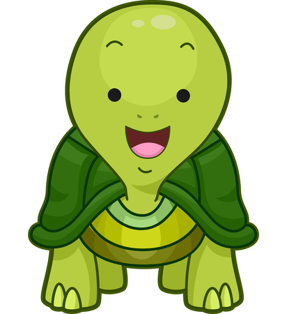 widely: Cutesy Illustration of a Little Turtle Smiling Widely