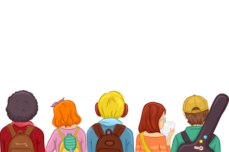 view girl: Rear View Illustration of Kids Wearing Backpacks