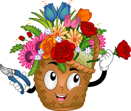 basket: Illustration of a Flower Basket Mascot Arranging the Flowers on Her Head Stock Photo