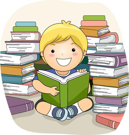 persona leyendo: Ilustraci�n de un Little Boy Rodeado de pilas de libros