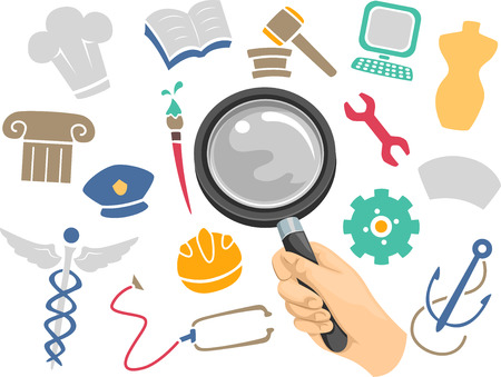 criminology: Illustration of a Magnifying Glass Hovering Above Icons of Different Academic Disciplines