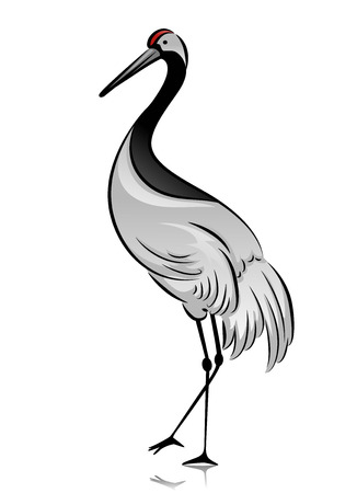 Illustration of a Crane Standing with One Foot Raised Stock Photo