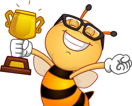 and spelling: Illustration of a Happy Bee Holding a Golden Trophy