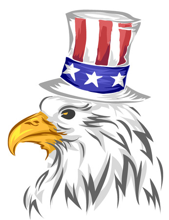 eagle flag: Illustration of Bald Eagle Wearing a Top Hat Designed with the American Flag Stock Photo