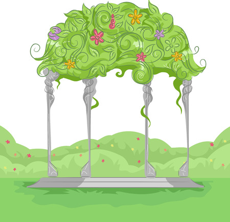 arbor: Illustration of a Garden Arbor with Colorful Flowers Growing on Top Stock Photo