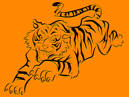 growl: Illustration of a Bengal Tiger with its Claws Outstretched Stock Photo