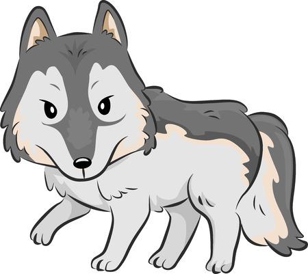 prowl: Cutesy Illustration of a Wolf Strolling Around