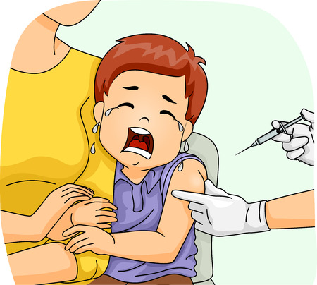 loudly: Illustration of a Scared Boy Crying Loudly as He is About to Get His Shot