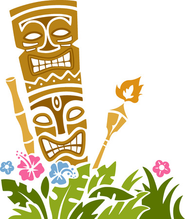tiki party: Colorful Illustration of a Tiki Statue Stencil