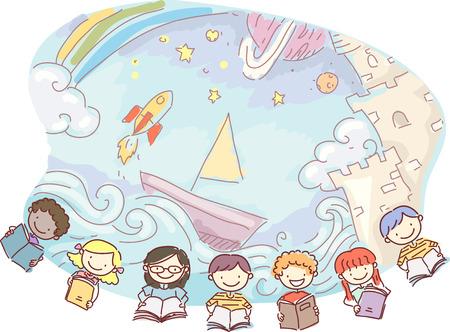 자녀들이 읽는 책의 내용을 상상하는 시도의 낙서 그림