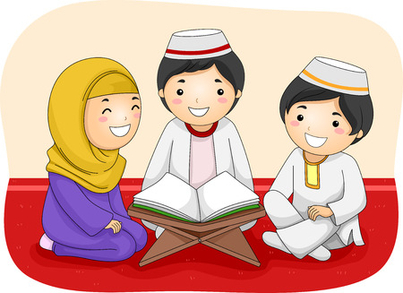 kids reading: Illustration of Little Muslim Kids Reading the Quran