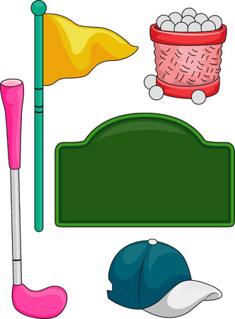associated: Illustration of Elements Typically Associated with Golf for Kids