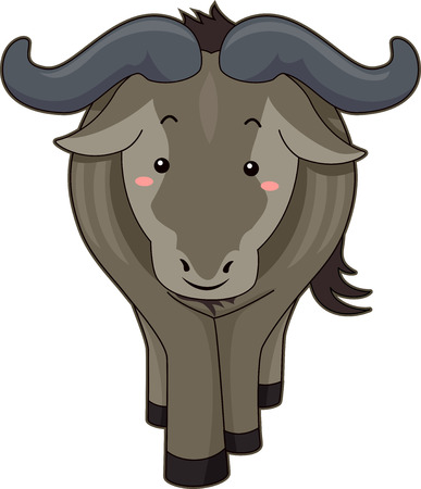 flushed: Cutesy Illustration of a Wildebeest with Flushed Cheeks