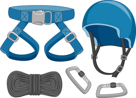 extreme sports: Illustration of Typical Safety Gear Used in Dangerous Activities