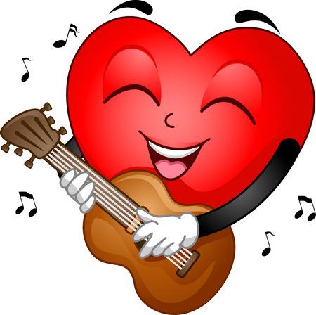 strumming: Illustration of a Heart Mascot Strumming the Guitar