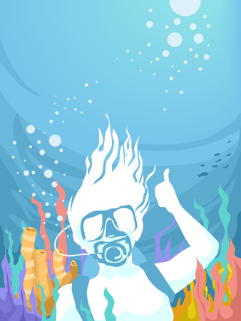 woman underwater: Illustration of a Girl Giving a Thumbs Up While Underwater
