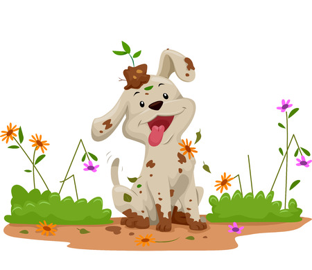 Illustration of a Cute Little Dog Making a Mess While Playing in the Garden 版權商用圖片