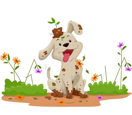 Ilustração de um cachorrinho fofo fazendo uma bagunça enquanto brincava no jardim